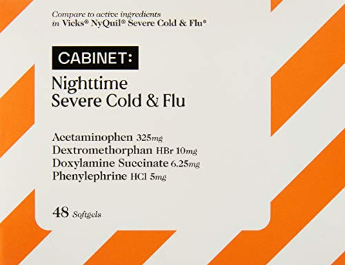 Cabinet Nighttime Severe Cold & Flu | 48 Softgels | Relieves Sore Throat, Fever, and Congestion