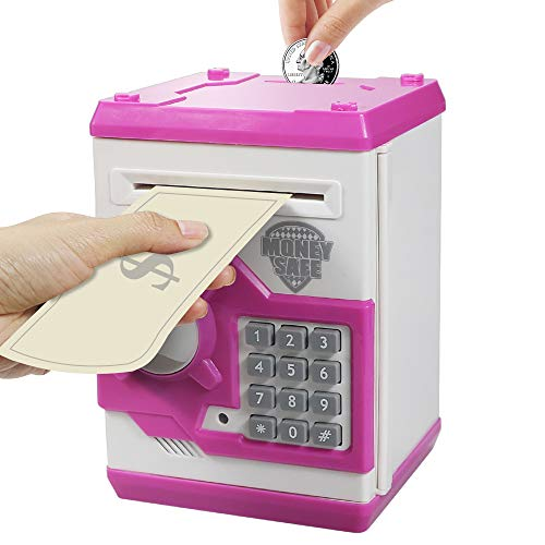 HUSAN Great Gift Toy for Kids Code Electronic Piggy Banks Mini ATM Electronic Coin Bank Box for Children Password Lock Case (White/Pink)