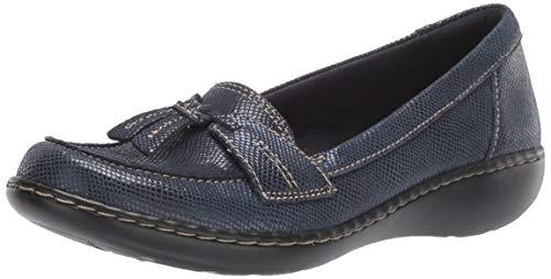Clarks Women's Ashland Bubble Loafer, Navy Snake Leather, 90 XW US