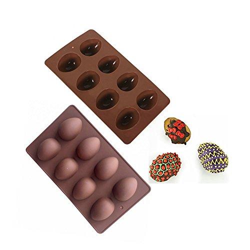Jun Stampo in silicone antiaderente a forma di uovo di Pasqua, per torte, cioccolato, budino, ghiaccio, adatto al forno cioccolato