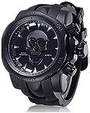 XYG Reloj de calavera con personalidad de hombre, reloj de cuarzo de silicona con esfera grande, reloj multifunción SmartWatches 2021 (A)