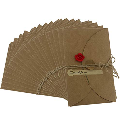 "Ogrmar Brown Kraft Paper Thank You Cards Thank U Greeting Card with Kraft Paper Envelopes for Wedding, Graduation 6.9""x4.3"" Pack of 20 (Rose)"