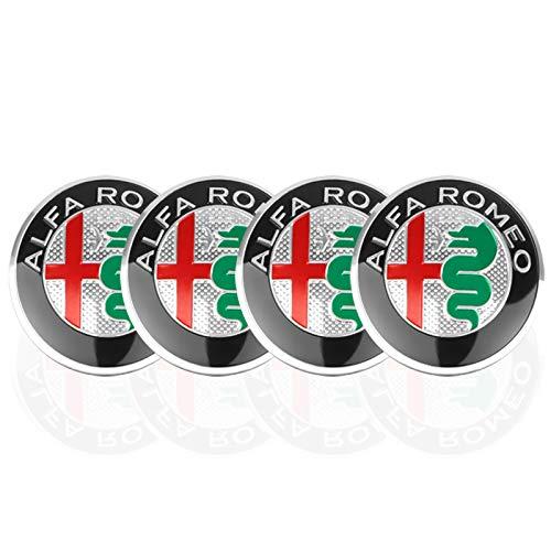 4 fundas para cubo de rueda de 56 mm, pegatinas para coche compatible con Alfa Romeo 159 147 156 166 Giulietta Giulia Auto decoración accesorios centro cubierta