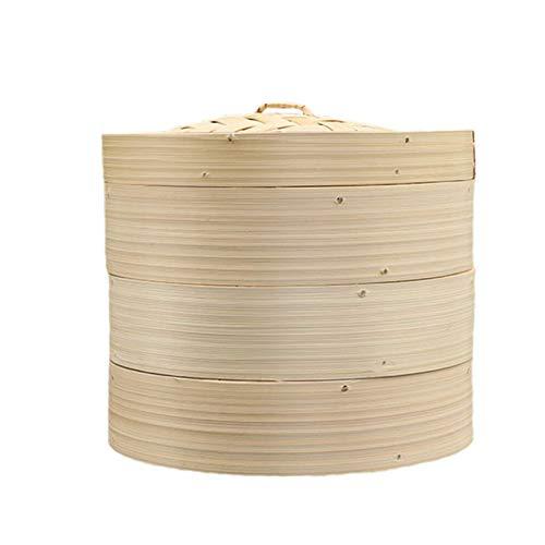 DFBGL Cesta de Vapor de bambú de 25 cm / 10 Pulgadas, cestas de 3 Niveles con Tapa, Utensilios de Cocina Hechos a Mano, Cocina Tradicional para arroz, Dim Sum, Verduras, Carne y Pescado