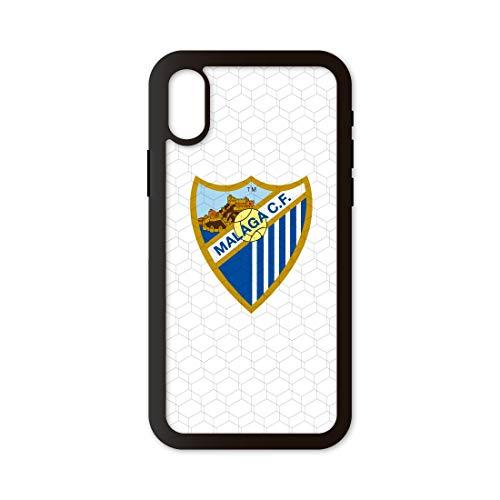 PHONECASES3D Funda móvil Compatible con iPhone XR Málaga CF Escudo. Carcasa de TPUde Alta protección. Funda Antideslizante, Anti choques y caídas. - Blanco