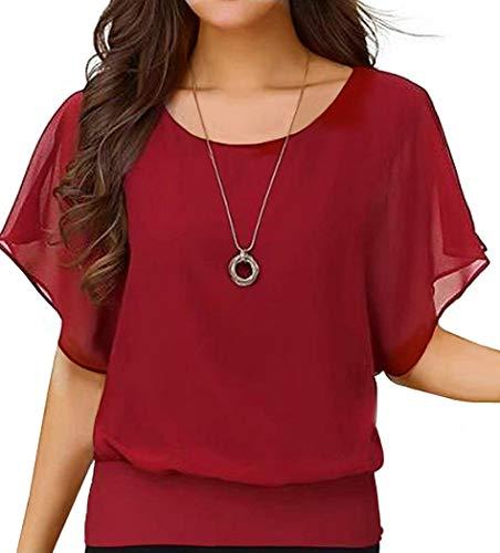 Neineiwu Women's Summer Casual Loose Fit Short Sleeve Round T-Shirt Shirt Chiffon Top Blouse (Red L)