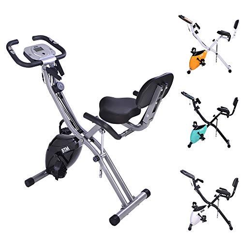Bici da ginnastica pieghevole pieghevole per la casa con volano 10 livelli di resistenza magnetica display LCD sedile regolabile con mano e schienale manubrio ruote max 120,2 kg per bici indoor (nero)