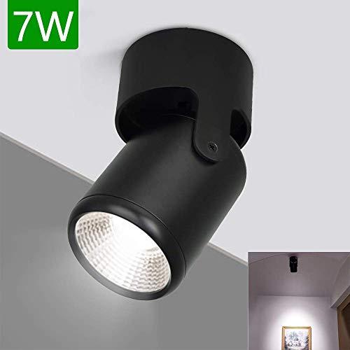 DLLT Modern Wandspot Schwarz Innen, LED Downlight Wandleuchte Drehbar, 6000k Kaltweiß 560LM Spotlicht Aufbaustrahler für Wohnzimmer, Studio, Flur, Schlafzimmer, Küche, Esszimmer, Bilder
