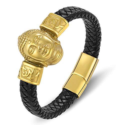 YUANBOO Charm Trenzado Oro Cuerda Magnética Pulsera De Cuero Hombres Negro Brazalete Pulsera Buddhism Buddha Religión Joyería Accesorios