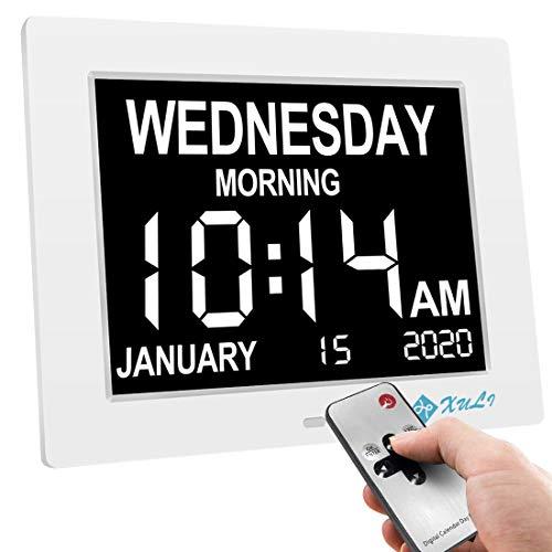 XULI Reloj Digital Calendario día y Hora - con función de Alarma - (Abreviatura de Letras en Pantalla Grande, Oscurecimiento Automático, Dual Modo) Reloj Alzheimer (Blanco)