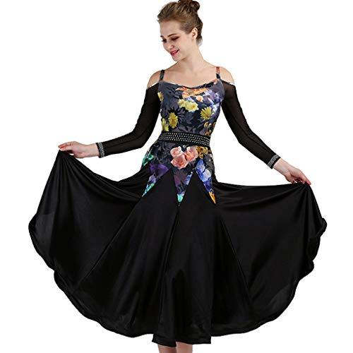 JTSYUXN Eleganter Moderner Tanzrock Gesellschaftstanzkleid Standard Tango Dance Wear Praxis/Training Stretchrock (Farbe : Schwarz, größe : S)