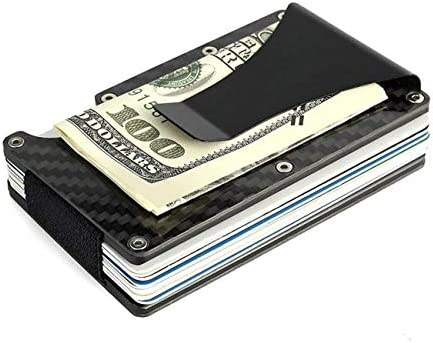 RFID Blocking Carbon Fiber Wallet for Men Business Credit Card Holder Billfold Money Clip Aluminum product image