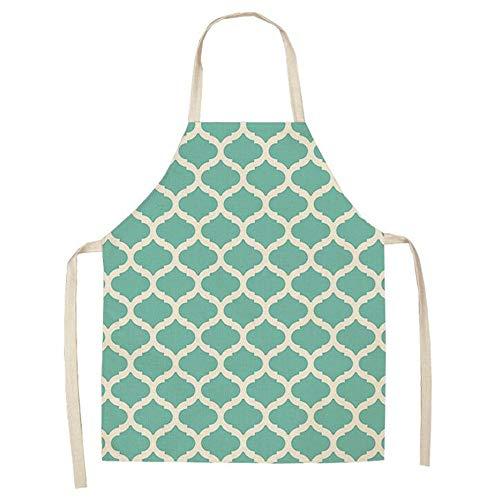 ZSDGY Delantal Colorido geométrico Creativo, Ropa de Cocina de patrón de Rejilla de Pesca de Lino de algodón, Ropa de Cocina a...