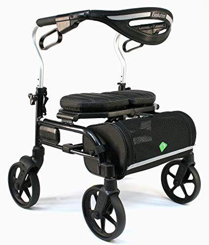 Evolution Trillium Lightweight Medical Walker Rollator with Seat, Large Wheels, Brakes, Backrest,...