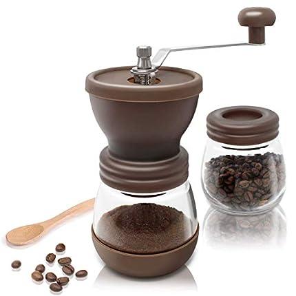 Amazy Molinillo de Cafe Manual – Molinillo de Ceramica para Disfrutar del Mejor café recién molido (Marrón)