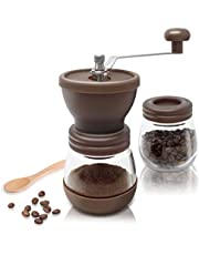 Amazy Manuell kaffekvarn inkl. extra behållare + 16 kaffedesignschabloner + bambusked – keramisk kaffekvarn för fin, nymalet kaffe (brun)
