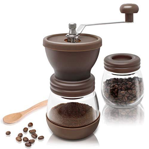 Amazy Macinacaffè manuale con contenitore extra + 16 – Macinino caffè a funzionamento manuale, in ceramica per caffè macinato finemente (Marrone)