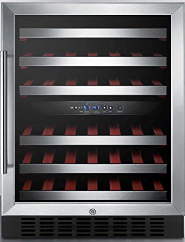 Summit Appliance SWC530BLBISTADA ADA Compliant Dual Zone 24' Wide Built-In Wine Cellar with Glass Door, Digital Thermostat, Auto Defost, Stainless Steel Trimmed Shelves and Black Cabinet