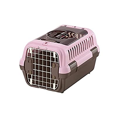 Richell Double Door Pet Carrier Small, Travel Carrier for Small Dog and cat, Soft Pink/Brown, Model Number: 80020