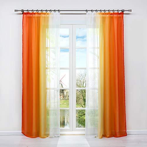 HongYa 2er-Pack Farbverlauf Gardinen Transparenter Voile Vorhänge Schals mit Kräuselband H/B 145/140 cm Orange