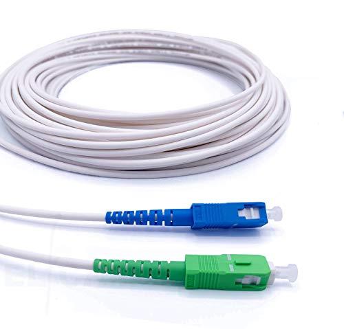 Elfcam® - Câble/Rallonge Fibre Optique { Freebox } - Jarretière Simplex Monomode SC-APC à SC-UPC - Blindage et Connecteur Renforcée - Perte Très Fiable - Blanc, 15M