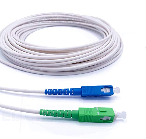 Elfcam® - Câble/Rallonge Fibre Optique { Freebox } - Jarretière Simplex Monomode SC-APC à SC-UPC - Blindage et Connecteur Renforcée - Perte Très Fiable - Blanc, 10M