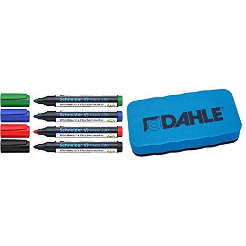 Schneider Maxx 290 Marker (für Whiteboards und Flipcharts, Rundspitze 2-3 mm Strichstärke, rückstandsfrei trocken abwischbar) Etui mit 4 Farben & Dahle Whiteboard Schwamm, blau