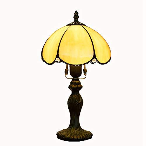 JAQ Barock, Gelb, Glas Tiffany Tischlampe Handcarved Stained Schreibtischlampe kreatives Weinlese-Nachttisch Licht für Schlafzimmer Arbeitszimmer Raum Innen Deko Licht