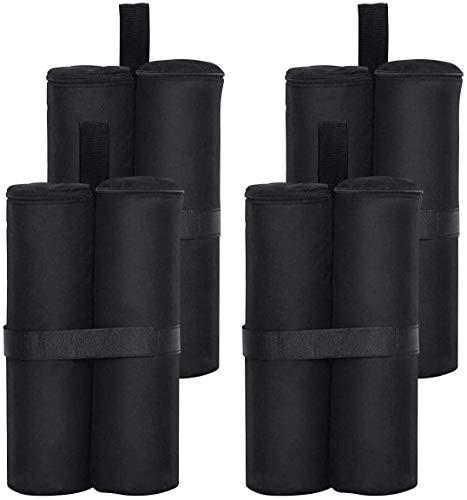 JLDUP - Paquete de 4 pesos de arena de grado industrial, pesadas de arena de doble costura, pesas, para patas para toldo, toldo, sombrillas, trampolines, bolsa de pies pesadas (M, negro)