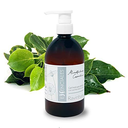 Essenciales - Gel Hidroalcóholico Desinfectante manos con Aceites Esenciales 100% puros (Aceite Esencial Ravintsara, 500 ml)