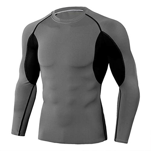 Camisa de correr para hombre de secado rápido elástico para hombre, camiseta de compresión de alta elasticidad, se puede utilizar para gimnasio, ciclismo, senderismo, entrenamiento. Gris oscuro