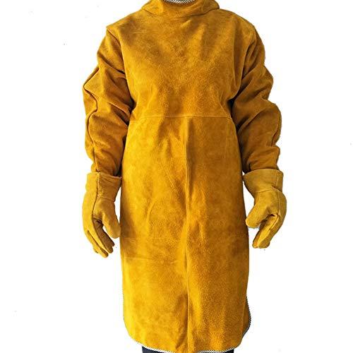 LAIABOR Schweißerschürze Und EIN Paar Handschuhe aus Leder hitzebeständige und entflamme strapazierfähig aus Leder hitzebeständige