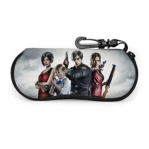 zhufeifan Resident Evil Fundas de Gafas Estuche blando para gafas de sol Estuche para gafas de neopreno ultraligero con cierre de cremallera y clip para cinturón