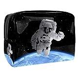 Bolsa de Maquillaje Astronauta del Espacio Exterior Bolsa Cosmetica Portátil Viaje de Maquillaje Organizador Bolsa de Almacenamiento de Maquillaje 18.5x7.5x13cm