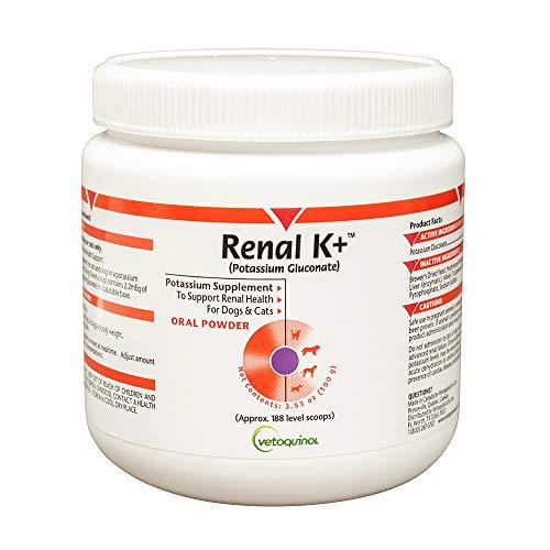 Vetoquinol Renal K+ (Potassium Gluconate) Potassium Supplement Powder for Dogs and Cats  3.5oz