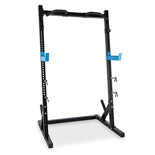 Capital Sports Racktor Half Rack - Squat Rack, Kniebeugenständer, Hantelstation, 2 x Safe Spotter: max. 720 kg, 2 x J-Cups: max. 850 kg, 35-stufig, Klimmzuggriffe, schwarz