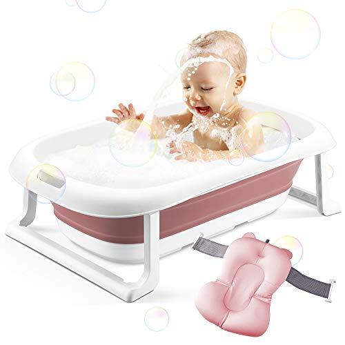 3-in-1 Babybadewanne Tragbare zusammenklappbare Badewanne für Kleinkinder Faltbare Duschwanne für Kinder Anti-Rutsch-rutschfest mit Babykissen und Wasserspülbecher für 0-5 Jahre (rosa Wanne + Kissen)