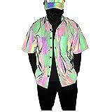 PENNY73 Camisa de Manga Corta Reflectante Colorida Camisa Hawaiana para Hombre Top de Moda con Botones y Ajuste Relajado para Fiesta en la Playa,M(165cm65kg)