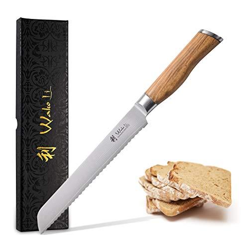 Wakoli Oliven Damastmesser - sehr hochwertiges Profi Messer mit Olivenholz Griff mit Damast Klinge, Damastmesser Brotmesser, Damastküchenmesser