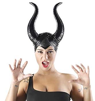 Breevo Demon Maleficent Horns Staff Costume for Women Girl Gothic Evil Headband Witch Headpiece Devil Ears Black