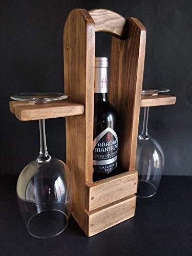 Botellero con ranura para copas hecho a mano con madera reciclada de palet