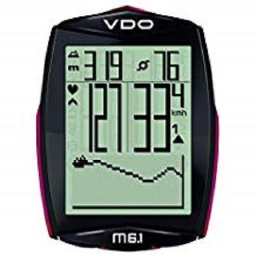 VDO Fahrradcomputer M6.1 Kabellos, mit Pulsgurt und Geschwindigkeitssensor, Schwarz/Weiß/Rot