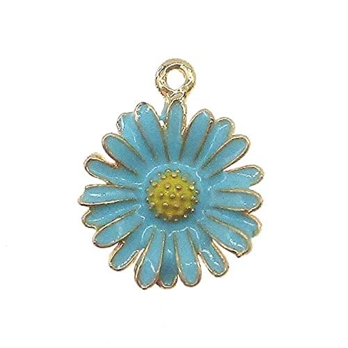 FANFAN 10pcs / Lot crisantemo Flor Encanto encantos de Esmalte para la fabricación de joyería y el Cuidado de la Pulsera del Encanto Colgante