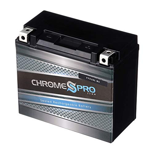Chrome Battery YTX20L-BS High Performance Power Sports Battery - Replacement Motorcycle Battery - Maintenance Free - Chrome Pro Battery