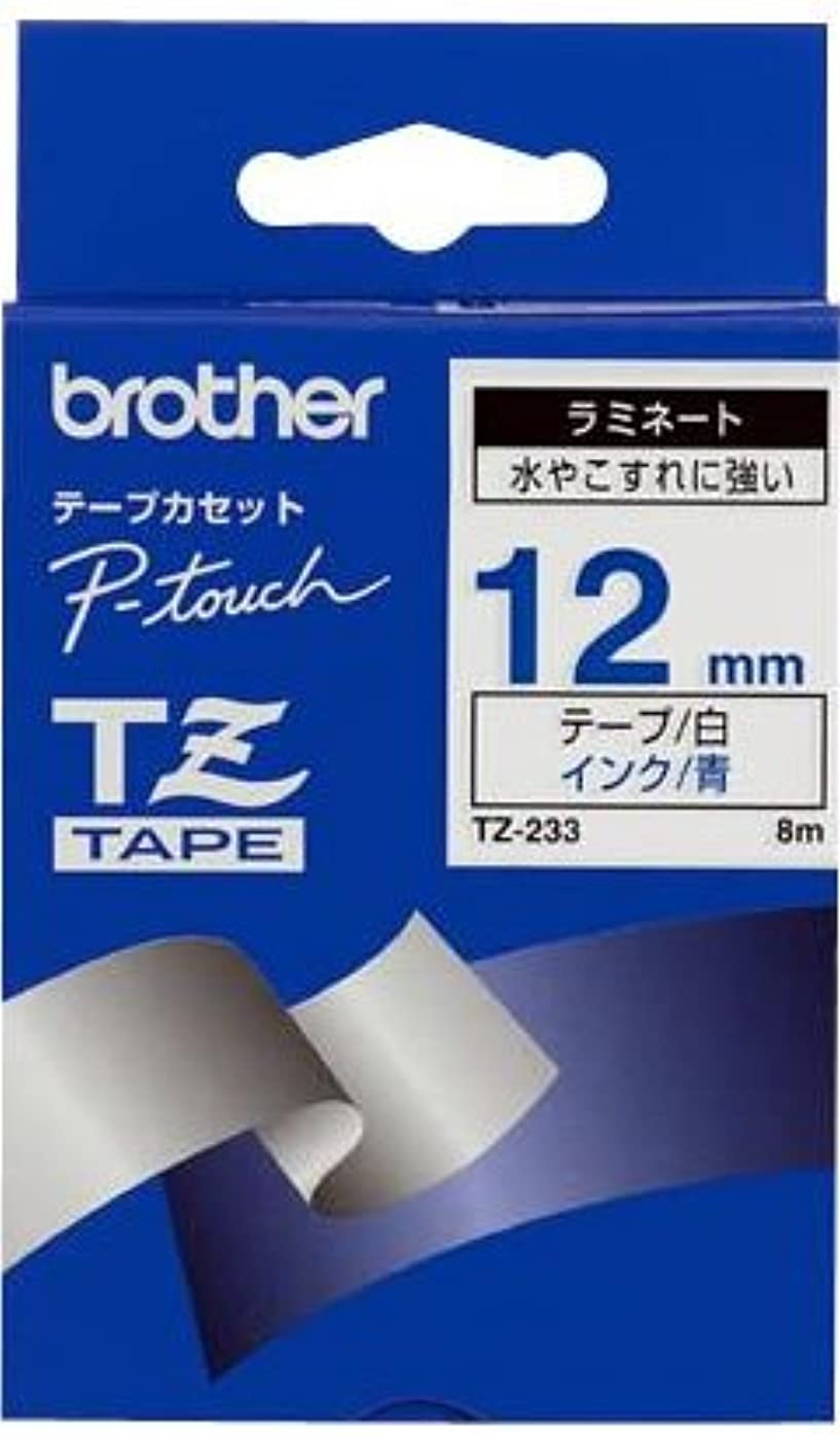 BROTHER P-TOUCH TAPE TZE233 12MM BLU/WHT