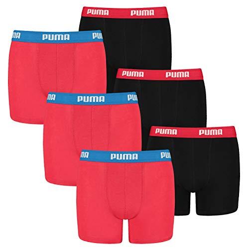 PUMA 6 er Pack Boxer Boxershorts Jungen Kinder Unterhose Unterwäsche, Farbe:786 - Red/Black, Bekleidung:164