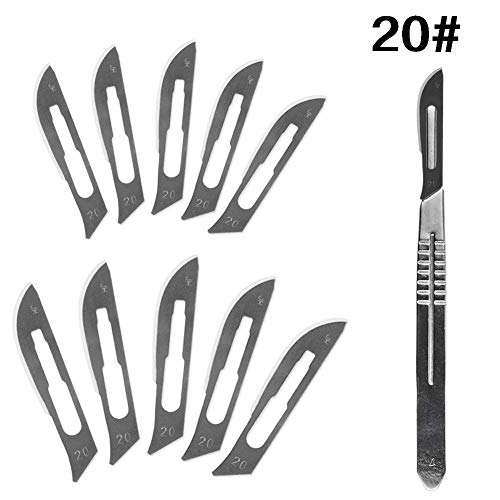 HINTER Carbon-Stahl chirurgische Skalpell-Klingen + 1 Stück 4# Griff Skalpell DIY Schneidwerkzeug PCB Reparatur Tier chirurgisches Messer 10 Stück 20#-23#