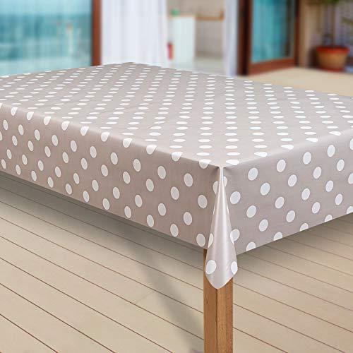 laro Wachstuch-Tischdecke Abwaschbar Garten-Tischdecke Wachstischdecke PVC Plastik-Tischdecken Eckig Meterware Wasserabweisend Abwischbar G07, Größe:100x140 cm, Muster:Punkte beige-grau