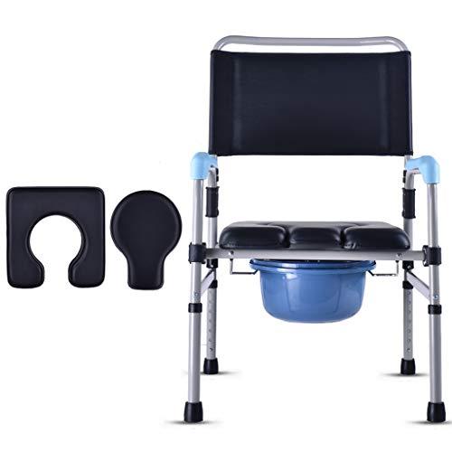 Silla plegable con asiento Altura regulable Asiento acolchado Aleación de aluminio Marco de seguridad Rieles Silla de baño para adultos Silla de ducha para ancianos 150 kg Capacidad de peso