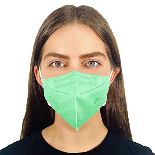M95c Disposable 5-Layer Efficiency Protective Face Mask 5-Ply Small Face 5 Units Design Made in USA (5, Mint Green)